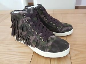 Geox Repira Girls Aveup G Green Camouflage Suede Leather Tassel Hi Top Trainers