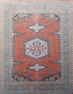 9'x12' Rug   Traditional Hand Knotted Rust-Lt Blue  Wool Area Rug  