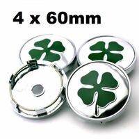 *NEW* 4x 60mm ALFA ROMEO Wheel Center Caps Logo Hub Caps Rim silver-green