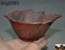 Marked Chinese Yixing Zisha Pottery Leaf statue Bonsai potted plants flower pot