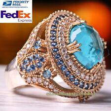 Turkish Handmade 925 Sterling Silver Hurrem Sultan Aquamarine Stone Female Ring