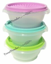 TUPPERWARE Servalier Bowls 10 oz Set of 3 Sheer with Purple Green and Mint Seals