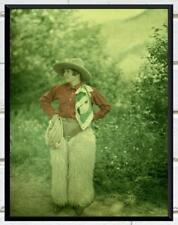 Stunning... Cowgirl 1920/30's Western Autochrome ... Antique 8x12 Photo Print