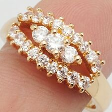 Charming Clear Round Cubic Zircon Gold Plated Lady Girl Jewelry Ring Size 6