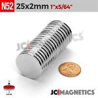 """5 10 25 50 100pc 25mm x 2mm 1""""x1/16"""" N52 Strong Disc Rare Earth Neodymium Magnet"""
