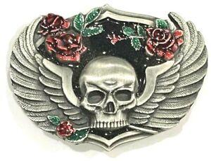 Women's Skull, Wings & Roses Enameled Siskiyou Belt Buckle Biker