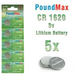 5 X Super1620 CR1620 DL1620 3V PoundMax Lithium Coin Cell Batteries