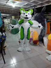 New Green Husky Mascot Costume Halloween Fancy Party Dress