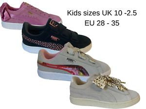 Puma Suede Childrens Kids Trainers 4 styles Pink Black O/White RRP £40 UK 10 - 2