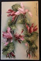 "ARTIST CATHERINE KLEIN ~FLOWER  ALPHABET LETTER ""A"" ~ used 1906- s937"