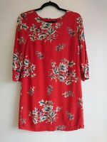 Ladies Joules Red Blue Floral Beydale Tunic Dress UK Size 10 Work Office Casual
