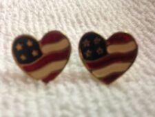 AVON Patriotic USA Flag Heart Pierced Earrings Gold Tone Red White Blue Enamel