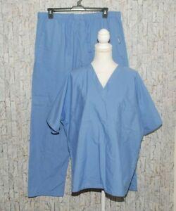 Unisex Landau Blue Scrubs Set Pants 1X & Short Sleeve Top Size XL