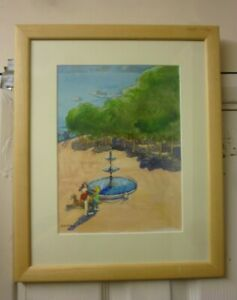 Large Framed Water Colour By Eric Dawson Called Lake Como 2000
