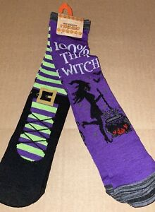 WOMENS HALLOWEEN 100% THAT WITCH 2 PAIR CREW SOCKS NEW