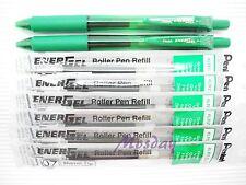 Pentel BL107 Energel 0.7mm Fine 2 Roller Ball Pen + 6 Refills, GREEN