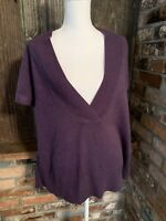 Coldwater Creek Women's Purple V Neck Knit Pullover Sweater Size XL