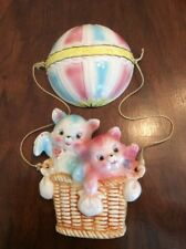 LEFTON (?) Two Kittens in a hot air balloon Wall plaque Wall Hanging L4