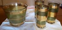 Vintage MCM Green Glasses With Raised Gold Details & Ice Bucket/Snacks