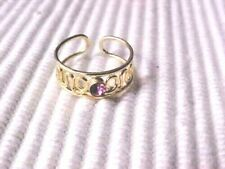 Toe Ring Pink Crystal Rhinestone Filigree Gold Tone Adjustable NEW
