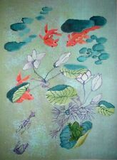 MZC Vintage Oriental Koi Gold Fish in Lily Pond Hand Painted Needlepoint Canvas