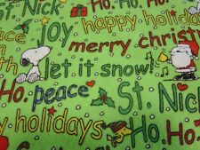 Peanuts Snoopy Christmas Flannel Fabric - 1 Yard - Free Shipping