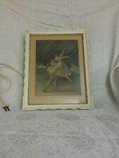New Listingvintage wood framed matted picture electric lighted dancing ballerina metal back