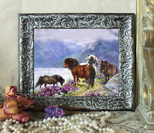 Cheviot MIST in MOUNTAINS Highland Pony Horse Print Styl Framed 11X13 py
