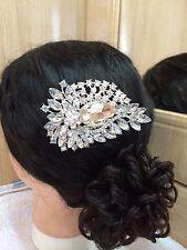 Stunning Crystal BridalWedding Prom Party Diamante Hair Comb  SiLVER Design A