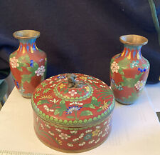 New listing vintage chinese cloisonne vases with covered box Foo Dog on top