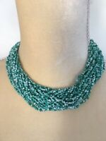 Vintage Green White Stone Seed Bead Necklace Multi Strand Lobster Clasp