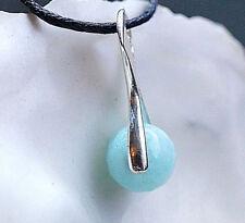 Kleiner Anhänger Silber Hellblau Larimar 8 mm 2,4ct Schlicht Kettenanhänger Edel