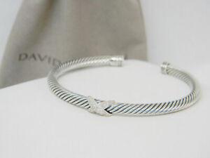 David Yurman Sterling Silver Diamond X Station 4mm Cuff Bangle Bracelet