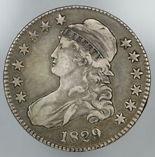 VERY FINE 1829 CAPPED BUST SILVER HALF DOLLAR  VF 50c