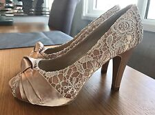 New Look Ladies Women Court High Heel Sandal Peep Toe Shoe Size 6 39 Nude Cream