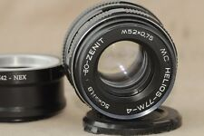 HELIOS 77m-4 1,8/50 Russian SLR Lens M42 mount + Adapter for Sony NEX