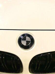 BRAND NEW OEM BMW Black and White Genuine  Carbon Fibre Roundel Emblems 3 Piece