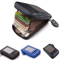 Men's Wallet Real Leather Credit Card Holder RFID Blocking Zipper Thin Pocket Sd