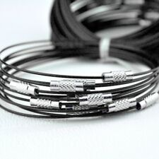10pcs Black Stainless Steel Bracelet Wire Cord For DIY Craft Jewelry Making