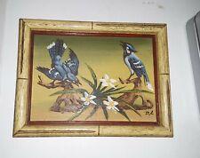 Vintage Blue Jay Painting 9x7 on wood Blue Jay's Painting signed Estate sale