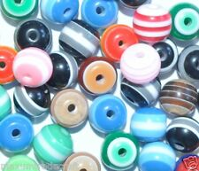 100pcs assorted striped round resin beads 8mm