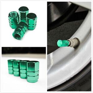 4x green aluminum wheel rim tire stem air valve cap cover all car universal