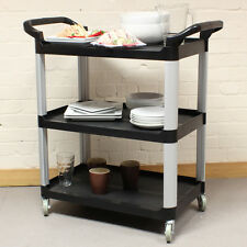 Black Medium 3 Tier Kitchen/Hostess Catering Trolley/Cart Tea/Drink/Dish Caddy