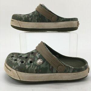 Crocs Junior 3 Casual Camouflaged Slingback Sandals Green Croslite Slip On Flats