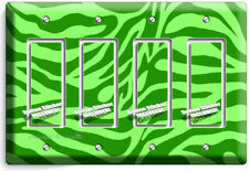 GREEN ZEBRA STRIPES ANIMAL PRINTS 4 GANG GFCI LIGHT SWITCH WALL PLATE ROOM DECOR
