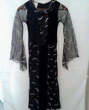 Witch Costume Renaissance Dress Up Child Medium Black Silver Stars Moon Long