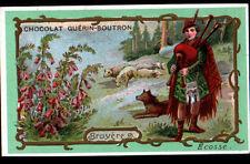 IMAGE CHOCOLAT GUERIN BOUTRON / ECOSSE / BERGER avec CORNEMUSE & FLEUR BRUYERE