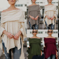 Sexy Women Off Shoulder Asymmetrical Batwing Loose Shirt Blouse Casual Tank Tops