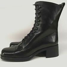 NEW Pierre Varini Ladies Quality Leather Utility Boots UK 3.5 Black Combat Army