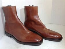 Frye Mens Size 9.5 Wright Back Zip Cognac Leather Casual Ankle Boots $528 FB2-24